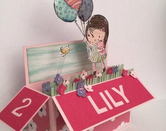 3d pop up childrens card, girl