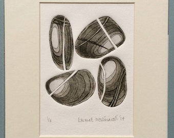4 Pebbles Limited Edition Mounted Etching No. 1 of 8