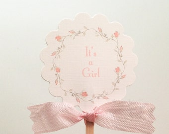 It's a Girl Cupcake Topper- Baby Shower Girl Cupcake Picks-First Birthday-Wedding Toppers-Set of 12