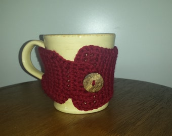 Adorable Crochet Coffee Cup Mug Cozy Sleeve in Claret/Deep Red fits Starbucks Travel Mugs