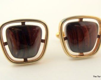 Vintage HICKOK Cufflinks Gold Tone Dark Brown Stone Mens Jewelry 1960s
