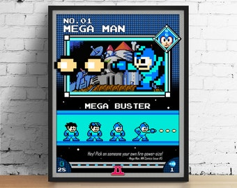 Mega Man poster, Nintendo art, video game poster, classic game print, pixel art, Mega Man 2, kids room poster, game room art
