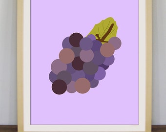 Grapes art, fruit print, kitchen decor, grapes poster, fruit art, contemporary art