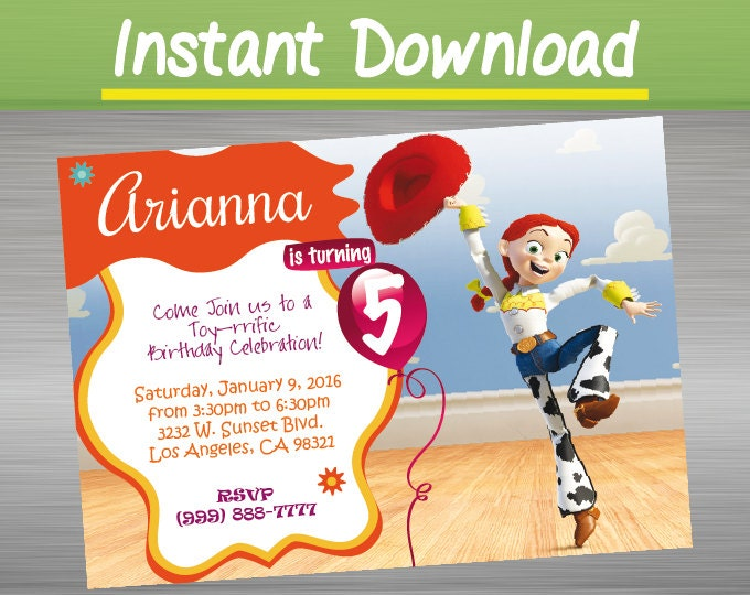 Digital download toy story birthday invitation by for Toy story invites templates free
