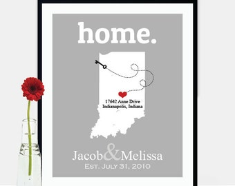 Anniversary Gift for Husband, 1st Anniversary Gift, Indiana Map Wedding State Gift, From Bride to Groom Custom Birthday Gift Men - ANY STATE