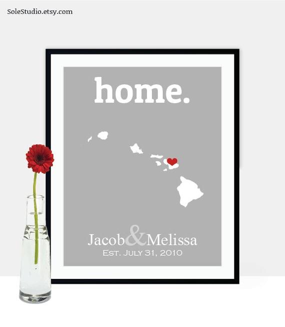 Wedding Gifts Hawaiian : Hawaii Wedding Gifts, Destination Wedding Gift, Honolulu Map Art Print ...