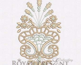 Machine Embroidery Design - Cutwork lace flower vase