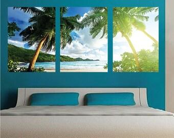 Palm Tree Wall Mural Decal, Palm Tree Wall Art Decals, Large Beach Wall Mural, Tropical Beach Scene Wall Mural Decal, Beach Mural, c64