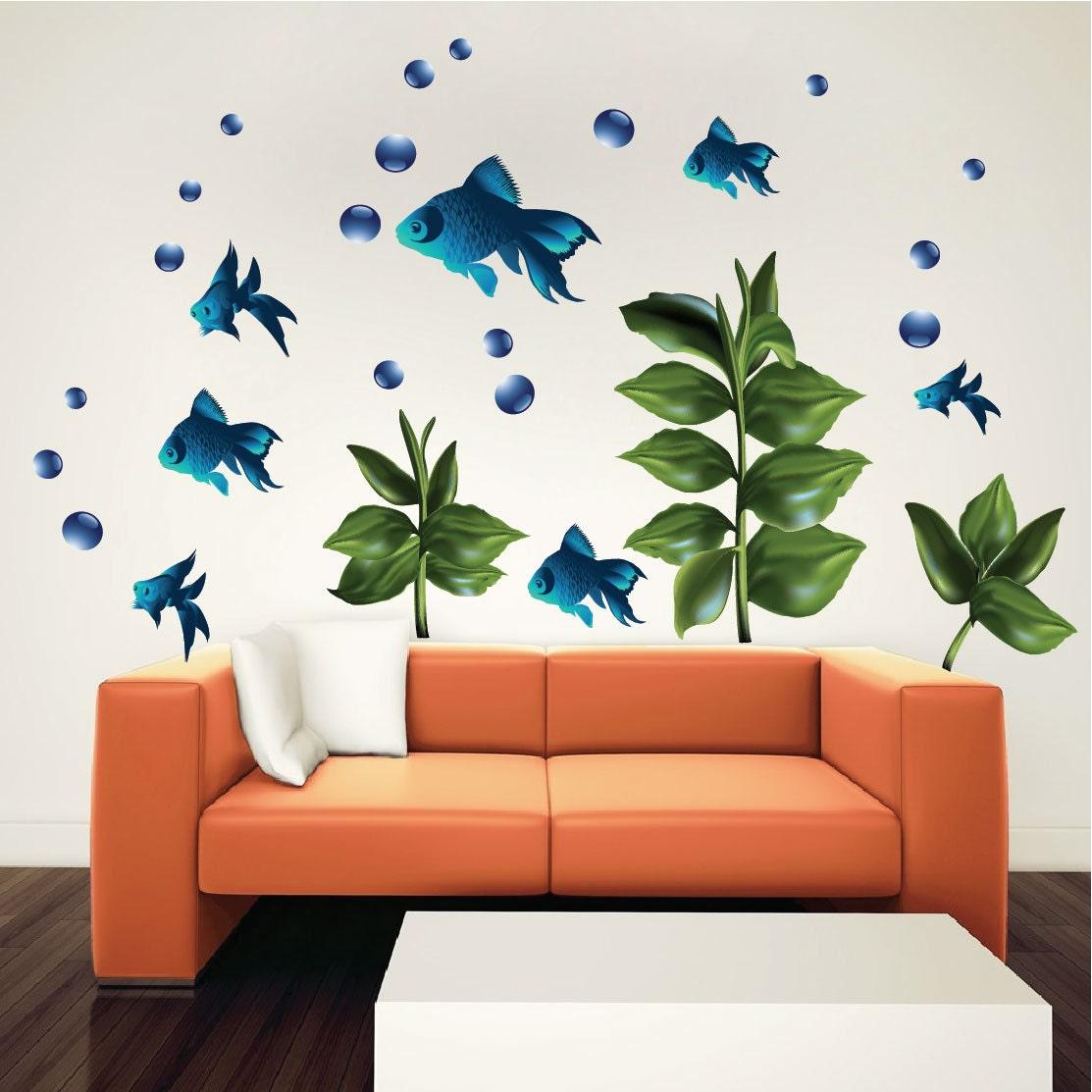 Kids bedroom fish decor decals fish wall murals bedroom sea for Fish decor for walls