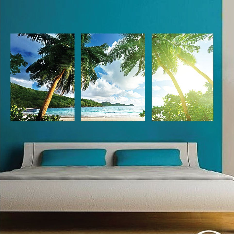 Palm tree wall mural decal palm tree wall art decals large for Beach mural for wall