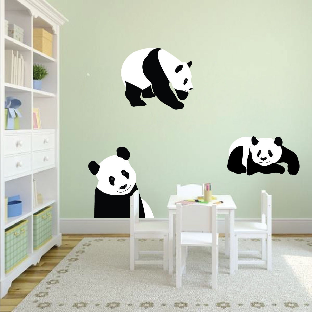 Panda bear wall mural decal bear wall art sticker panda wall zoom amipublicfo Image collections
