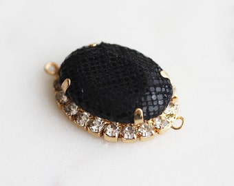 P1-807-G] Black Fabric Covered Oval / 17 x 22mm / Gold plated / Pendant / 1 piece(s)