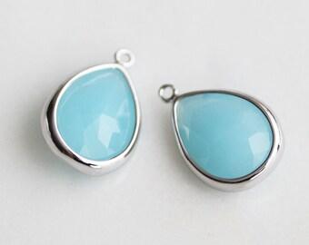 A2-098-R-MB] Milk Blue / 10 x 16mm / Rhodium plated / Teardrop Glass Pendant /  2 pieces
