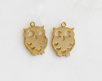P0-555-G] Owl / 10 x 15mm / Gold plated / Pendant / 2 piece(s)