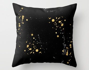 Modern Black and Gold Cushion Cover, Gold Splats, Ink Blots, Contemporary, Lux, Abstract, Home Decor