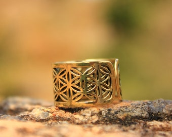 Flower of Life Brass Ring Adjustable for all sizes.