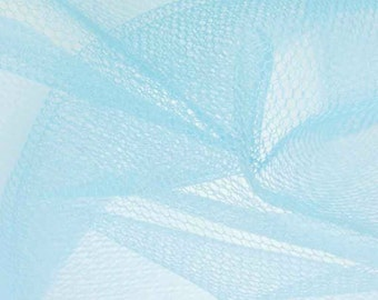 Tulle Netting Dress Fabric 140cm Wide 30 Colour Range - Powder Blue