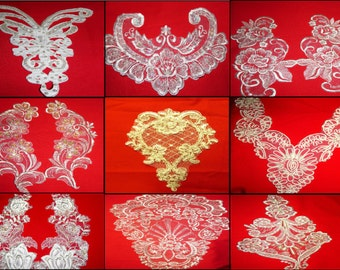 Bridal Applique Guipure ,Bead,Sequined Lace Inserts - Central Panel