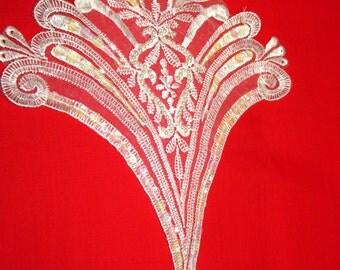Bridal Applique Guipure ,Bead,Sequined Lace Inserts - Art Nouveau