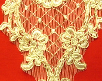 Bridal Applique Guipure ,Bead,Sequined Lace Inserts - Insert Ivory/Pearl 17 cm by 10 cm