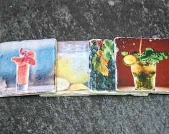 Stone Coasters, Photo to Travertine Tile Transfer, Set of 4