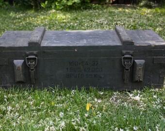Original Vintage Military Wooden Ammunition Box