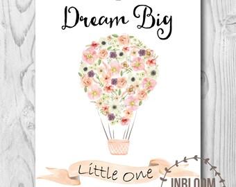 Hot Air Balloon Nursery Art, Shabby Chic Nursery Art, Printable Nursery Art, Dream Big Nursery Art, Girls Nursery Art, Printable Wall Decor