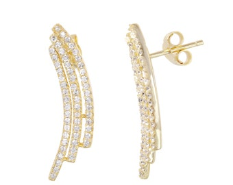 Earring silver 925 Rhodium and goldplated with Zirconia