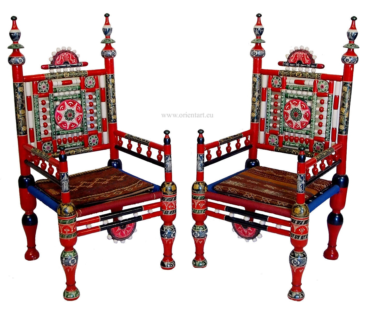 a pair of traditional punjabi tribal chairs from pakistan. Black Bedroom Furniture Sets. Home Design Ideas