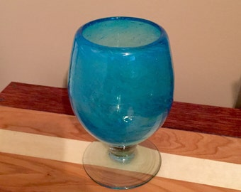 Aqua Blue Swirl Bubble Glass Goblet / Brandy Liqueur Snifter