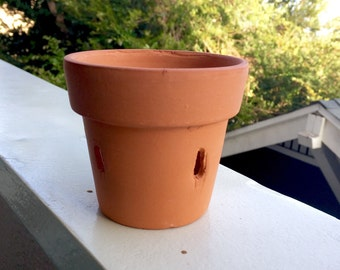 Vintage Terra Cotta Clay Flower Pot Planter with Holes - for Potted Orchid