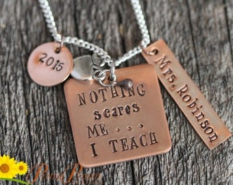 Jewelry for Teacher, Personalized, Teacher Necklace, Hand Stamped Special Teacher, Copper Necklace, Best Teacher Ever, Love to Teach