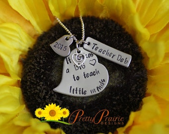 Teacher's Jewelry  - Hand Stamped Heart Teachers Necklace - Gift for Teacher at Years End - Student Teacher Present - Student Teacher Gift
