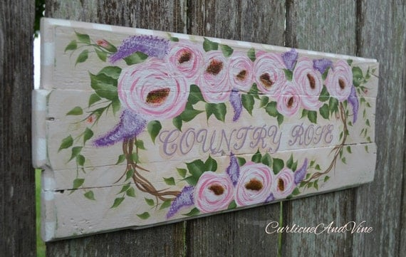 "Shabby Cottage Chic ""Country Roses"" Pallet Wood Sign"