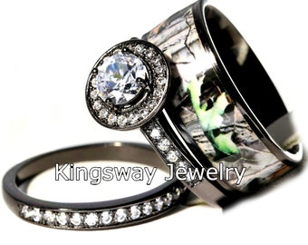 Hers 3 Piece Titanium Camo 925 STERLING SILVER Engagement Wedding Rings Set Pictures