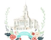 Payson Temple Watercolor, flower wreath design, printable art, digital file, LDS art, Mormon drawing, latter day saint artwork, FHE,