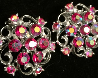 Vintage Red Aurora Borealis Rhinestone Earrings