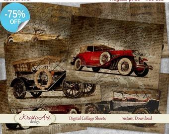 75% OFF SALE Old Cars Digital collage - Retro Digital Collage Sheet Printable Download Sheet C040 Retro Vintage image digital atc cards men