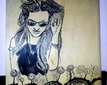 Doodle Women On Wood