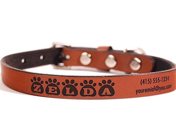 ID DOG COLLAR - Small - Zelda Design - Custom Leather