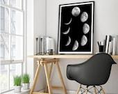 Printable Art, Moon Phase Print, Moon Art, Moon Phases, Home Decor, Wall Art, Instant download, Wall decor, Wall Print