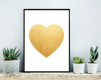 Printable Art, Gold Heart, Heart Print, Gold Print, Home Decor, Wall Art, Instant download, Wall decor