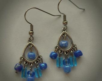 Blue Chandelier Earrings, Blue Earrings, Small Earrings, Light Weight Earrings, Trendy Earrings