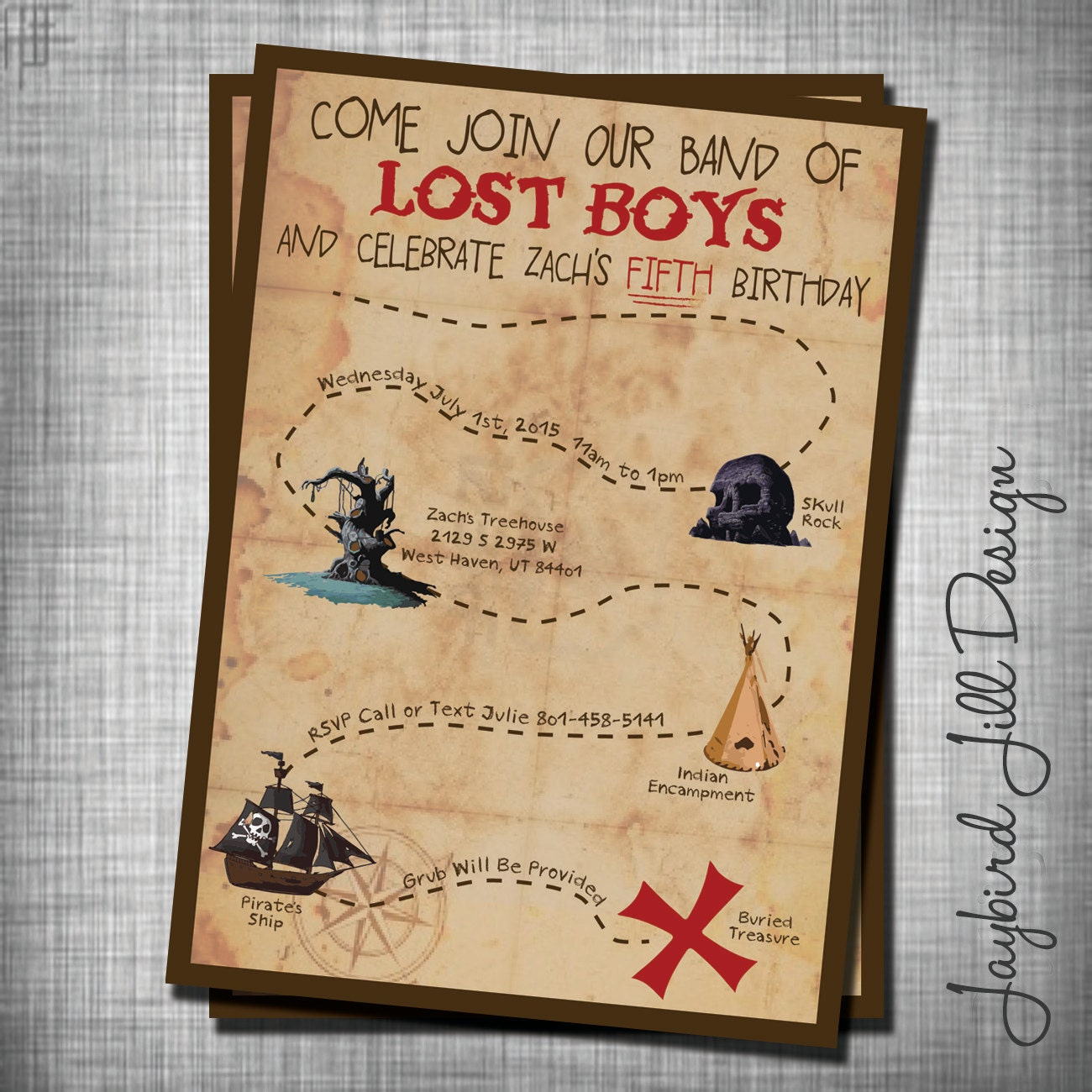 Lost Boys Birthday Invitation Peter Pan Neverland Party