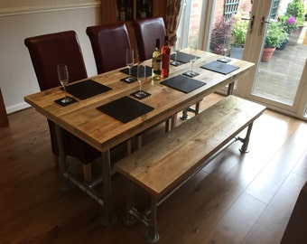 Reclaimed Scaffold board dining table and bench  6x3 urban industrial look