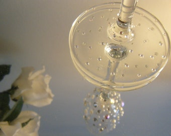 Sparkly wine glasses.  Hand decorated and Individually custom made.