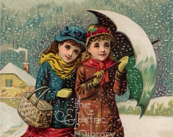 Winter Stroll Digital Download: Girls with an Umbrella Walk Along a Snowy Path on a Winter Afternoon