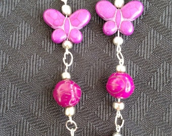 Silver plated butterfly earrings