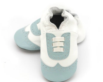 Wingtip leather baby shoes, blue, boy or girl, baptism shoes, christening shoes, dressy leather shoes