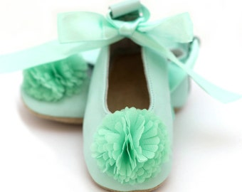 Mint green ballet flats for girls, flower girl shoes, baby shower gift, birthday gift, leather shoes for baby and toddler girls